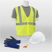ERB 18451 L4 New Hire Kit - Cap Helmet, Clear Glasses, Work Gloves, 2XL Safety Vest & Ear Plugs