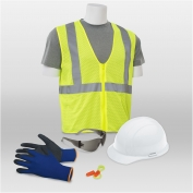 ERB 18452 L4 New Hire Kit - Cap Helmet, Smoke Glasses, Work Gloves, XL Safety Vest & Ear Plugs