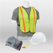 ERB 18526 L2 New Hire Kit - Cap Helmet, Clear Glasses, Work Gloves, Reflective Vest & Ear Plugs