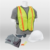 ERB 18528 L2 New Hire Kit - Cap Helmet, Smoke Glasses, Work Gloves, Reflective Vest & Ear Plugs