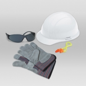 ERB 18532 L1 New Hire Kit - Cap Helmet, Smoke Glasses, Work Gloves & Ear Plugs