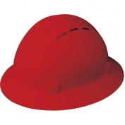 ERB 19334 Americana Vented Full Brim Hard Hat - 4-Point Pinlock Suspension - Red