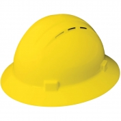 ERB 19432 Americana Vented Full Brim Hard Hat - 4-Point Ratchet Suspension - Yellow