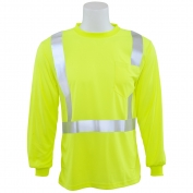 ERB 9007S Class 2 Birdseye Mesh Long Sleeve Safety Shirt - Yellow/Lime