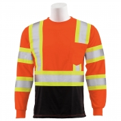 ERB 9804SBC Class 3 Black Bottom Two-Tone Long Sleeve Safety Shirt - Orange