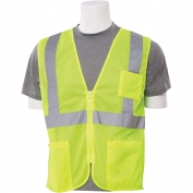 ERB S363P Class 2 Mesh Economy Safety Vest with Pockets & Zipper - Yellow/Lime
