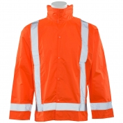 ERB S373D Class 3 Lightweight Oversized Rain Jacket with Detachable Hood - Orange
