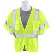 ERB S663P Class 3 Mesh Safety Vest with Zipper - Yellow/Lime