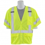 ERB S661 Class 3 Solid Breakaway Fall Protection Safety Vest - Yellow/Lime