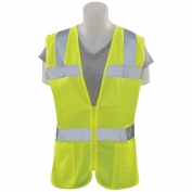 ERB S720 Class 2 Solid Women's Safety Vest with Zipper - Yellow/Lime