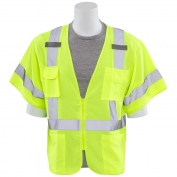 ERB S852 Class 3 Solid Front Mesh Back Safety Vest - Yellow/Lime