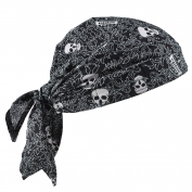 Ergodyne Chill-Its 6710CT Evaporative Cooling Triangle Hat w/ Cooling Towel  and Tie Closure - Skulls