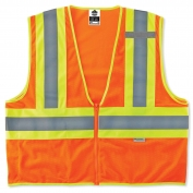 Ergodyne GloWear 8230Z Two-Tone Vest - Zipper Closure - Orange