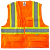 Ergodyne GloWear 8235ZX Two-Tone X-Back Vest - Zipper Closure - Orange