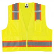 Ergodyne GloWear 8248Z Two-Tone Mesh & Solid Vest - Zipper Closure - Yellow/Lime