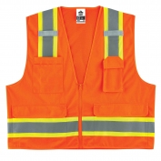 Ergodyne GloWear 8248Z Two-Tone Mesh & Solid Vest - Zipper Closure - Orange
