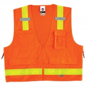 Ergodyne GloWear 8250ZHG Hi-Gloss Surveyor Vest - Zipper Closure - Orange