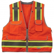 Ergodyne GloWear 8254HDZ Heavy Duty Surveyor Vest - Zipper Closure - Orange