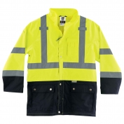 Ergodyne GloWear 8365BK Class 3 Black Front Rain Jacket - Yellow/Lime