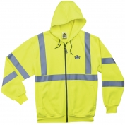 Ergodyne GloWear 8392 Class 3 Zipper Hooded Sweatshirt - Yellow/Lime