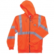 Ergodyne GloWear 8392 Class 3 Zipper Hooded Sweatshirt - Orange