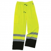Ergodyne GloWear 8915BK Supplemental Class E Black Bottom Rain Pants - Yellow/Lime