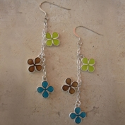 Chance Earrings - Lime Brown &  Blue