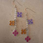 Chance Earrings - Purple Orange & Fuchsia
