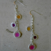 Cosmic Color Earrings - Fuchsia Purple & Orange