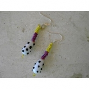 Glass Bead Happy Earrings - White and Black