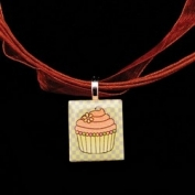 Scrabble Tile Necklace - Green Cupcake on Brown Ribbon