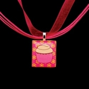 Scrabble Tile Necklace - Pink Cupcake on Hot Pink Ribbon