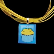 Scrabble Tile Necklace - Blue Cupcake on Yellow Ribbon