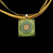 Scrabble Tile Necklace - Green Sunburst Mandala on Yellow Ribbon