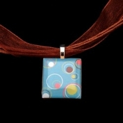 Scrabble Tile Necklace - Retro Circles Tile on Brown Ribbon