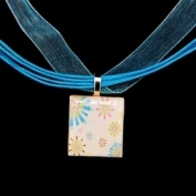 Scrabble Tile Necklace - Multicolor Retro Flowers with Turquoise Ribbon