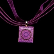 Scrabble Tile Necklace - Purple Sunburst Mandala on Purple Ribbon