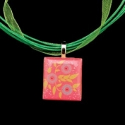Scrabble Tile Necklace - Pink Tile with Light Green Ribbon