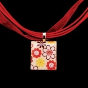 Scrabble Tile Necklace - Multiple Flowers with Red Ribbon