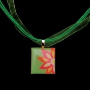 Scrabble Tile Necklace - Pink and Orange Flower with Light Green Ribbon