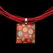 Scrabble Tile Necklace - Brown Tile with Red Ribbon