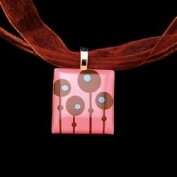 Scrabble Tile Necklace - Retro Pink Tile with Brown Ribbon