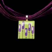 Scrabble Tile Necklace - Retro Purple Flowers with Purple Ribbon