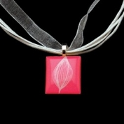 Scrabble Tile Necklace - Pink with White Ribbon