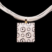 Scrabble Tile Necklace - Retro White Tile with White Ribbon