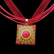 Scrabble Tile Necklace - Green Sunburst Mandala on Hot Pink Ribbon
