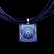 Scrabble Tile Necklace - Blue Sunburst Mandala on Dark Blue Ribbon