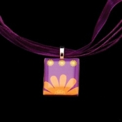 Scrabble Tile Necklace - Orange Floral with Purple Ribbon