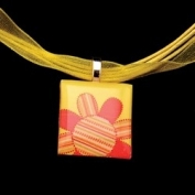 Scrabble Tile Necklace - Orange Flower with Yellow Ribbon