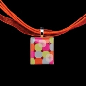 Scrabble Tile Necklace - Retro Circles Tile with Orange Ribbon